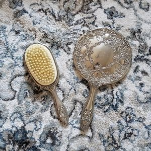 Silver Vanity Mirror and Brush Set